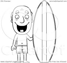 cartoon clipart of a black and white summer grandpa with a surf
