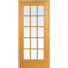 home depot prehung interior door mmi door 36 in x 80 in left unfinished pine glass 15 lite