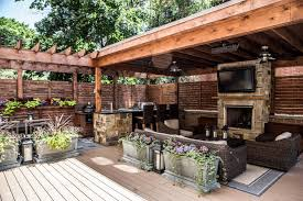 deck features zones for entertainment cooking relaxing hgtv
