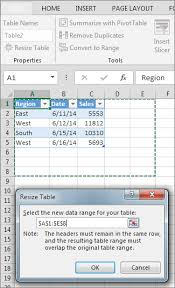 resize a table by adding or removing rows and columns excel