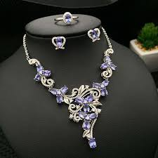 gemstone necklace sets images Natural blue tanzanite gemstone jewelry sets genuine solid 925 jpg