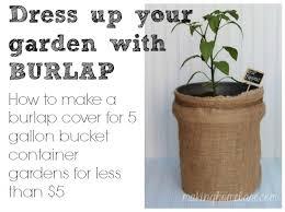 hide garden buckets with a diy burlap bag