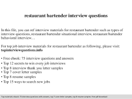 Resume Examples For Bartender by Restaurant Bartender Interview Questions