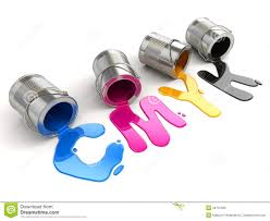 spilled cmyk paint 3d royalty free stock photo image 34701595