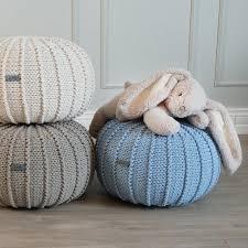 Ottoman Knitted Small Blue Knitted Floor Pouffe Blue Pouf Floor Ottoman