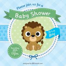 baby shower invitation template with a cute lion vector free