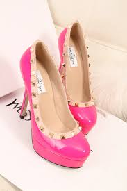 Light Pink Pumps Valentino Rock Stud Light Pink Patent Leather Peep Toe Heels