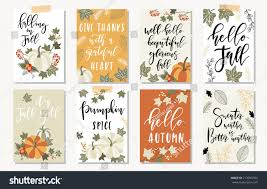 set autumnal card thanksgiving seasonal design stock vector