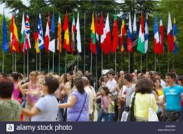 Dancing Flags Bulgaria Europe Kazanlak Valley Of The Roses Flower Festival