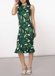 dorothy perkins petite green leaf fitted bodycon dress in green lyst