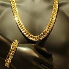 jewelry necklace bracelet images Mens thick tight link 24k yellow gold filled finish miami cuban jpg