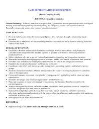 Sales Objective For Resume Sales Rep Job Description Resume Sample Sales Customer Service