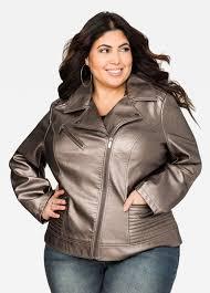 leather moto jacket metallic faux leather moto jacket ashley stewart jessica