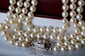 pearl necklace diamonds images 2 row heavy antique pearl necklace with genuine japanese see jpg