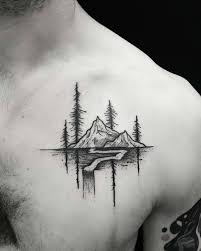 shoulder chest tattoos for men tattoo mountain wood river chest tattoo tattoo for men nature