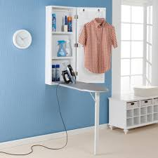 ideas inspiring wall mount ironing board with blue wall and round