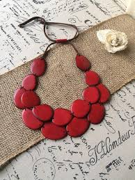 red necklace jewelry images Red statement tagua nut necklace galapagos tagua jewelry jpg