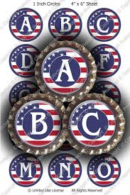 American Flag Magnet Digital Bottle Cap Images American Flag Initials Etr137 1 Inch
