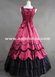 deep red and black satin gothic victorian gown spaghetti strap