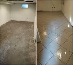 waterproof basement floor w tile pattern ardmore pa gallery