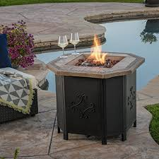 Fire Pit With Lava Rocks - myrtle outdoor 30 inch octagonal liquid propane fire pit with lava