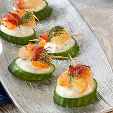 Thanksgiving Appetizer Recipes Tzatziki Shrimp Cucumber Rounds Recipe Taste Of Home