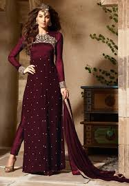 Buy Violet Embroidered Art Silk Embroidered Georgette And Art Silk Pakistani Suit In Wine Kch158