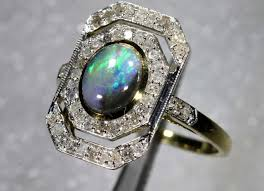 15 45cts solid opal diamond and gold art deco ring