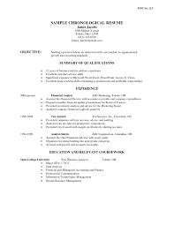 Sample Of Chronological Resume by Resume Format Chronological Resume For Your Job Application