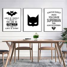 superman batman art prints poster black white typography quotes superman batman art prints poster black white typography quotes wall picture mural kids room babys boy