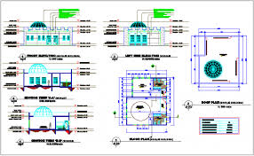 floor plan of mosque design view with front elevation floor plan and sectional view dwg file