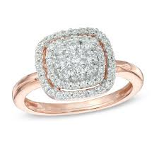 engagement rings from zales 1 2 ct t w cluster frame ring in 10k gold