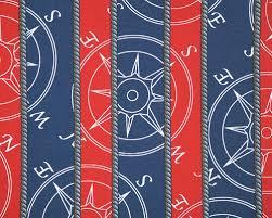 Nautical Curtain Fabric Latitude Blue White Blue Compass Nautical Drapery Drape