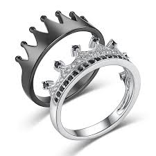jewelry promise rings images His queen her king 39 crown black and silver 925 sterling silver jpg