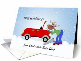 from auto mechanic christmas card reindeer red 881104
