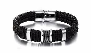 bracelet magnetic stainless steel images Braided leather bracelet magnetic buckle stainless steel jpg