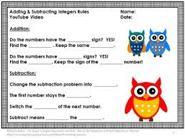 adding and subtracting integers worksheets u0026 video integers
