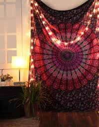Hippie Drapes Peacock Mandala Cool College Wall Tapestry Hippie Dorm Room