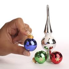 mini glass ornaments and tree topper ornaments