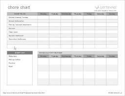 chore list template free chore chart template