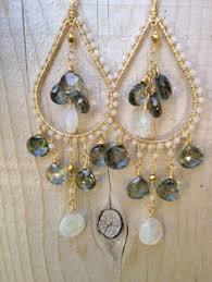 Chandelier Beaded Earrings White Bead Large Black And White Chandelier Dangle Hoop Long Statement