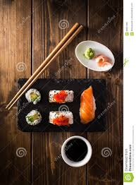 Wooden Table Top View Maki Sushi On A Wooden Table Top View Stock Photo Image 68631389