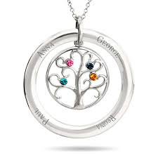 s day necklace with birthstone charms personalize a family tree pendant 4 birthstones and 4 stones and