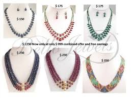 indian bead jewelry necklace images Handmade designer gemstone necklaces combo set of 6 bello jewels jpg