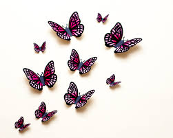 3d wall butterflies light pink u0026 fuchsia gradient butterfly wall
