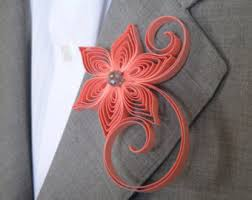 Coral Boutonniere Coral Boutonniere Etsy