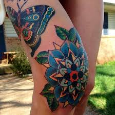 colorful knee tattoo