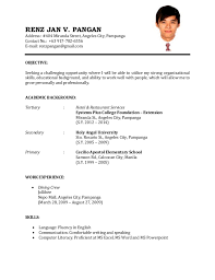 resume for part time job in jollibee foods format of resume for job sle resume for first time job