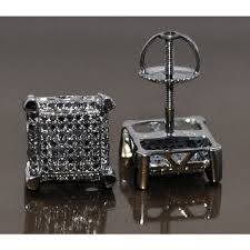 mens black diamond earrings black diamond stud earrings mens xl square princess 25ct 10k gold