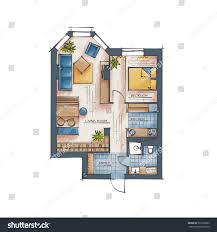architectural color floor plan one bedroom stock vector 501502603